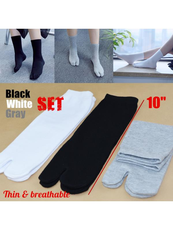 3 Pairs/Set Women Men Japanese Split Toe Socks Kimono Flip Flop Sandal Tabi Ninja Geta Unisex Breathable Black+White+Grey 3 Color Set For Cosplay Party