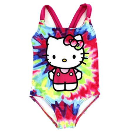 23a6dd599a Hello Kitty - Girls Colorful Tie Dye Hello Kitty Swimming Suit 1 Piece Cat Bathing  Suit - Size - 5 - Walmart.com