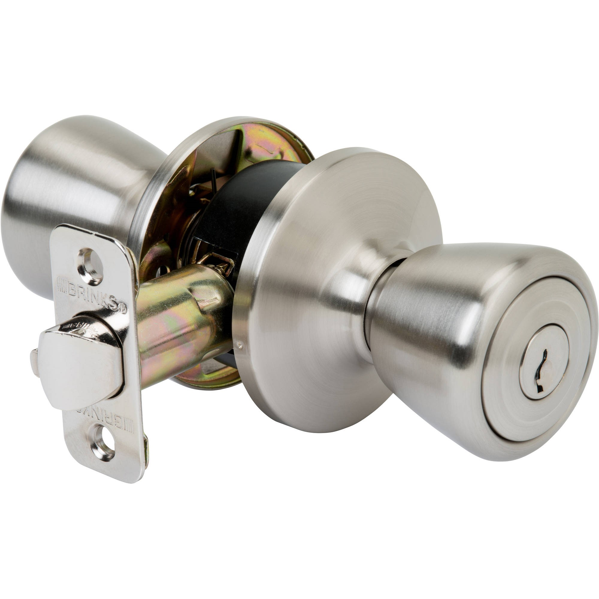 Brink's Tulip Style Keyed Entry Door Knob Satin Nickel