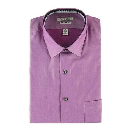 Herringbone Textured Dress Shirt (Van Heusen Mens Herringbone Button Up Dress)