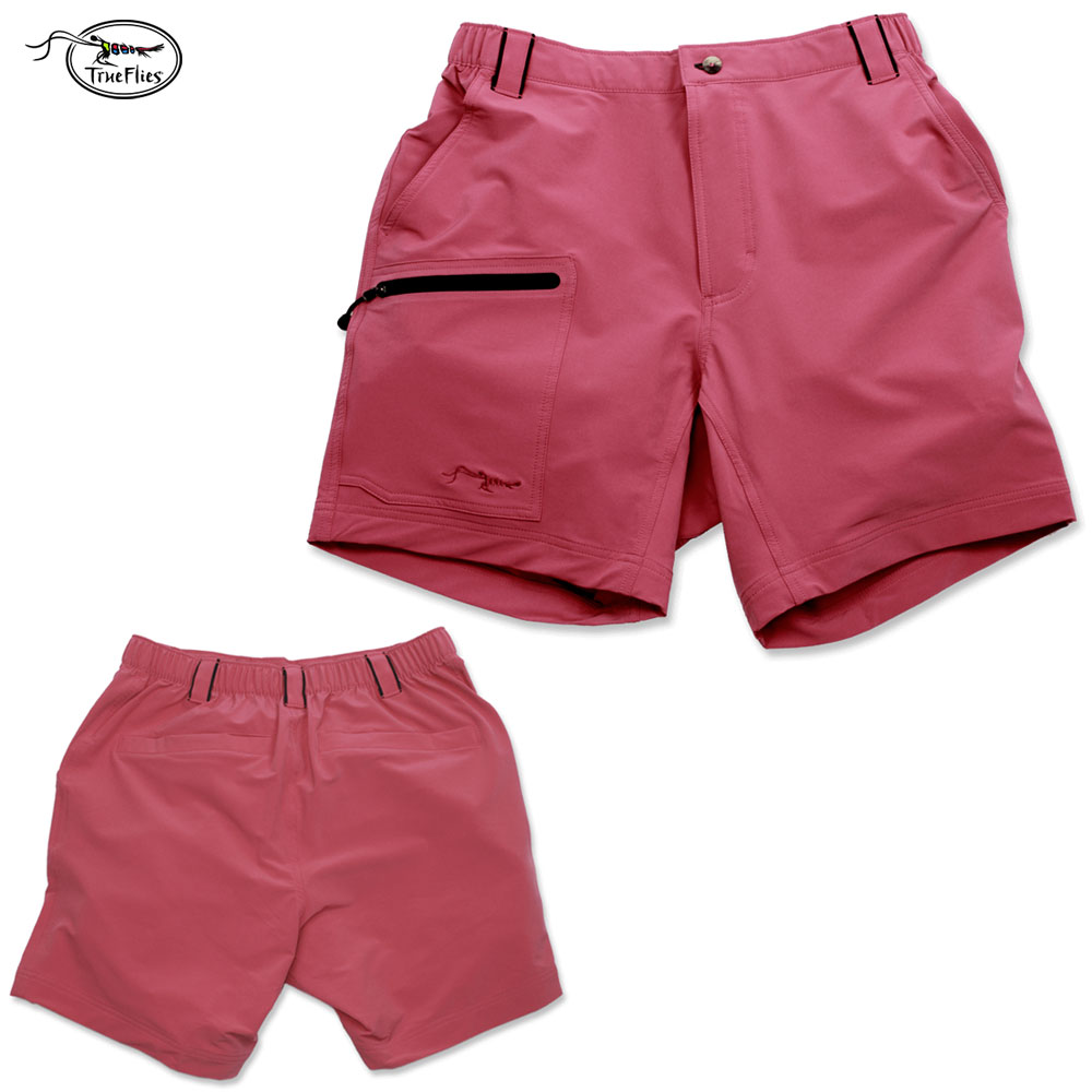 TrueFlies Shell Creek Sevens Shorts (S)- Coral