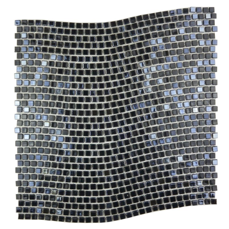 "Abolos- Galaxy Wavy 0.31"" x 0.31"" Glass Mosaic Tile in Dark Gray (10sqft / 10pc Box)"