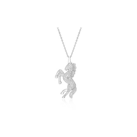 Diamond Cut Silver Plated Brass (Ladies Diamond Accent Unicorn Pendant Necklace in Rhodium Plated Brass)