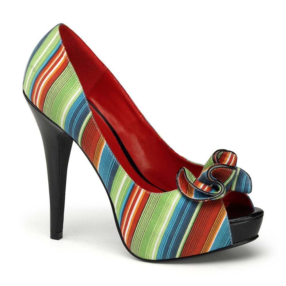 5 Inch Sexy Peep Toe Pumps Open Toe Shoes Multicolor Stripe Platforms