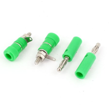 Binding Posts 2 Connector Plates (Audio Speaker Screw 4mm Banana Plug Binding Post Socket Connector Green 2 Pairs )