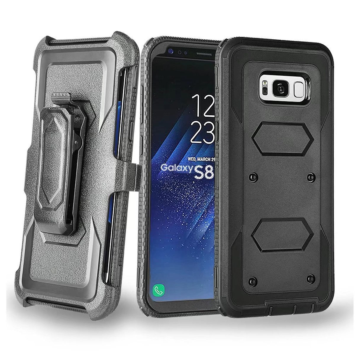 Galaxy S8 Plus Case, Mignova Hard Shell Holster Combo Matte Finish Protective Slim Case with KickStand and Locking Belt Swivel Clip for Samsung Galaxy S8 Plus 2017 release (Black)
