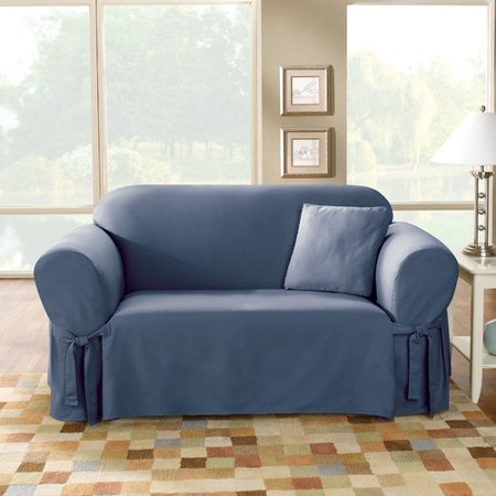 Surefit cotton loveseat slipcover blue Blue loveseat slipcover