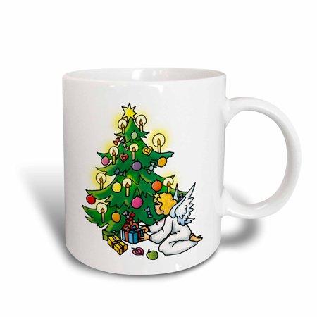 3dRose Christmas time ? Cristmas tree and angel, Ceramic Mug, 11-ounce 4 Christmas Tree Mugs