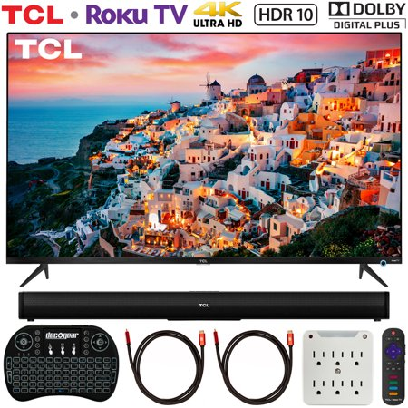 TCL 55S525 55-inch 5-Series Roku Smart HDR 4K UHD TV (2019) Bundle with TCL Alto 5 2.0 Channel Sound Bar, 2x Deco Gear 6FT 4K HDMI Cable, Wireless Keyboard and 6-Outlet Surge Adapter with Night (Best Usb Wifi Adapter 2019)