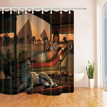 ARTJIA Leopard Decor Ancient Egyptian Lady and a Tame Cheetah Polyester Fabric Bathroom Shower Curtain 66x72 inches (Cheetah Bathroom Curtains)