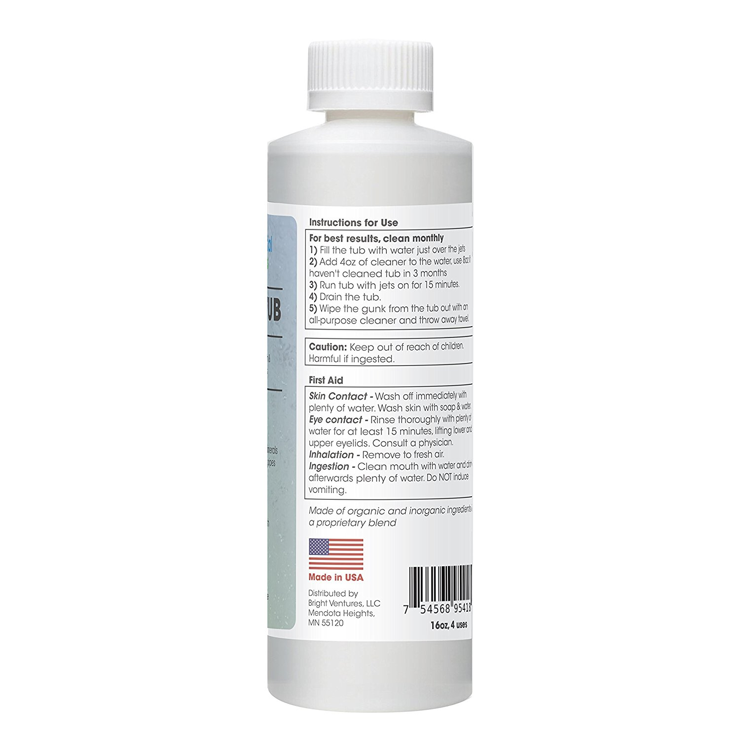 Jetted Tub Cleaner, Whirlpool Tub Cleaner (16oz / 4 uses) For Tubs ...
