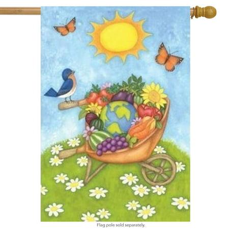 Wheelbarrow Bounty Decorative Spring House Flag - Decorative Wheelbarrow