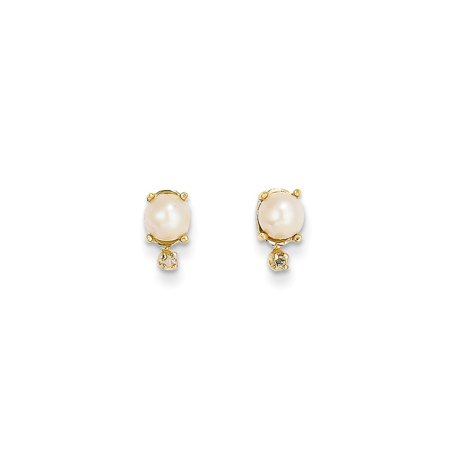 14k Yellow Gold Diamond Freshwater Cultured Pearl Birthstone Post Stud Earrings Ball Button June Gifts For Women For