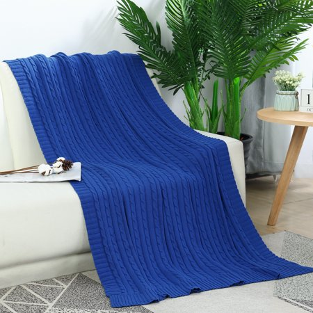 "Cotton Blanket Decorative Cable Knitted Throw Knit Blankets Blue, 70"" x 78"""