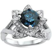 Noori 14k White Gold 1 1/4ctw Blue Round Diamond Lotus Flower Engagement Ring (G-H, SI1-SI2) Size-7