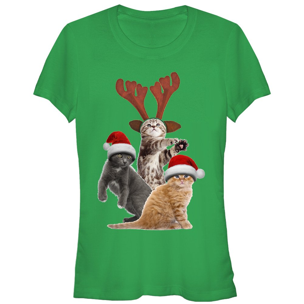 Juniors' Ugly Christmas Sweater Cats T-Shirt