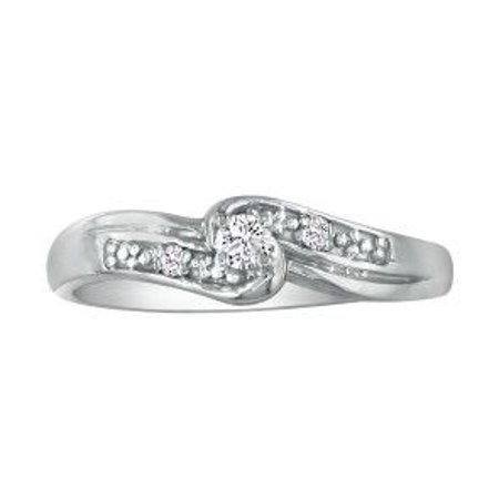 1/10ct Diamond Promise Ring with Thick Band in 10k White Gold Size 6.5 Diamond Thick Design Ring