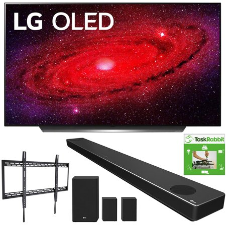 LG OLED77CXPUA 77-inch CX 4K Smart OLED TV with AI ThinQ (2020) Bundle with LG SN11RG 7.1.4 ch High Res Audio Sound Bar + TaskRabbit Installation Services + Monoprice Fixed TV Wall Mount