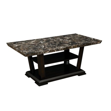 Wooden Coffee Table With Faux Marble Top Dark Cherry