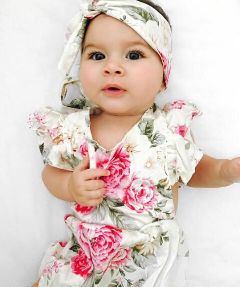 Toddler Pink Flowers with Pug Onesies Jumpsuit as picture18 Months
