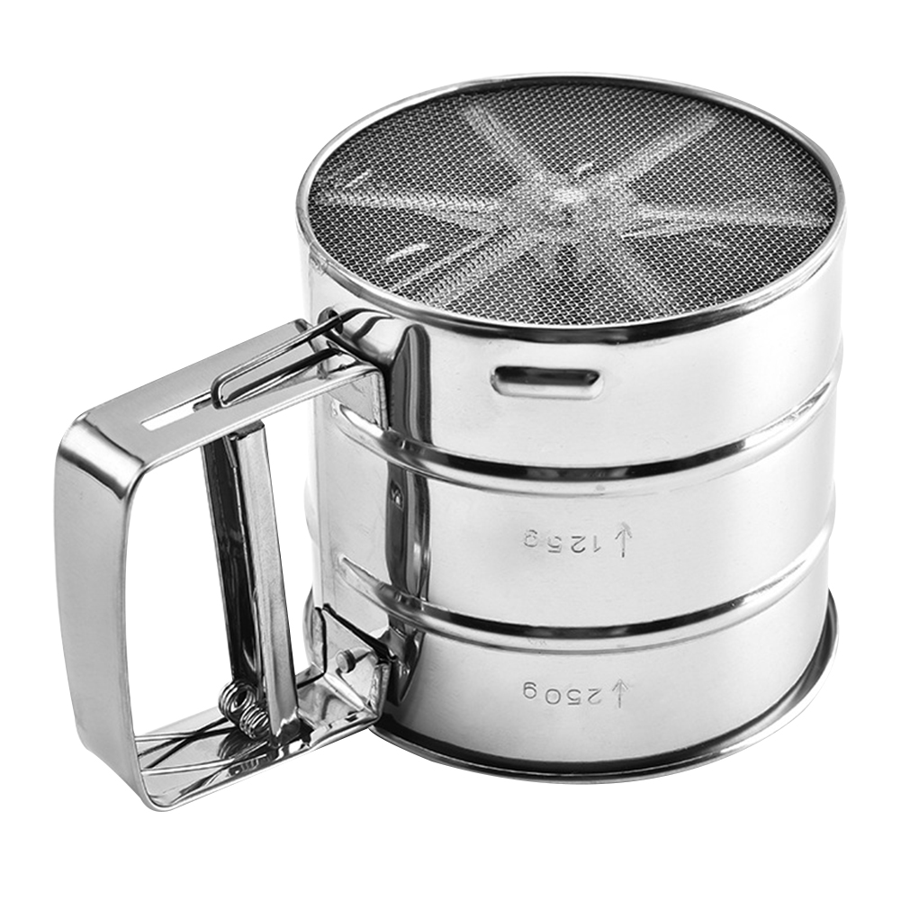 Semi-Automatic Flour Sieve Cupcakes 15.5X10X9.5 cm Pastries Pies Stainless Steel Hand Screened Sugar Mesh Baking Sugar Sifter Corrosion Resistant Kitchen Tools Gadgets for Bake Decorate Cakes
