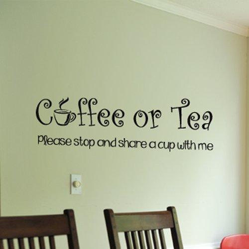 Fox Hill Trading Coffee or Tea Please Share a Cup with Me Vinyl Wall Decal