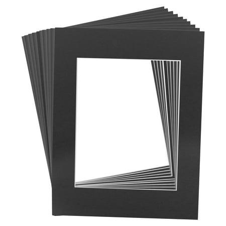 10 Art Mats Premier Quality Acid-Free Pre-Cut 11x14 Black Picture Mat Face -