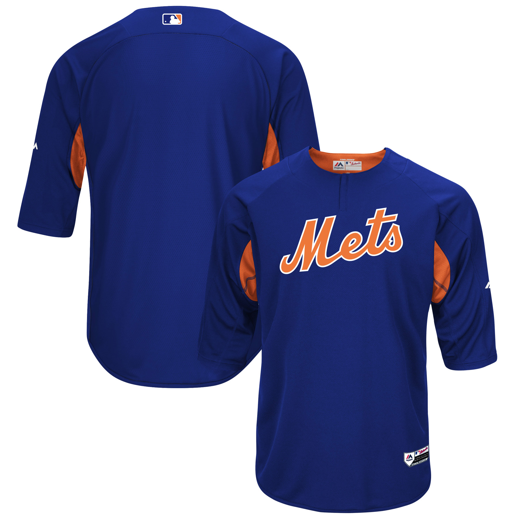 New York Mets Majestic Authentic Collection On-Field 3/4-Sleeve Batting Practice Jersey - Royal/Orange