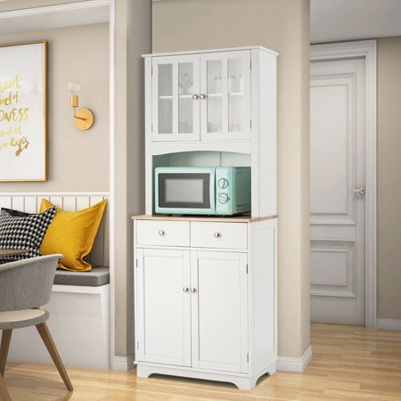 Gymax Buffet and Hutch Kitchen Storage Cabinet w/ Microwave Stand and Storage Shelves - image 9 of 10