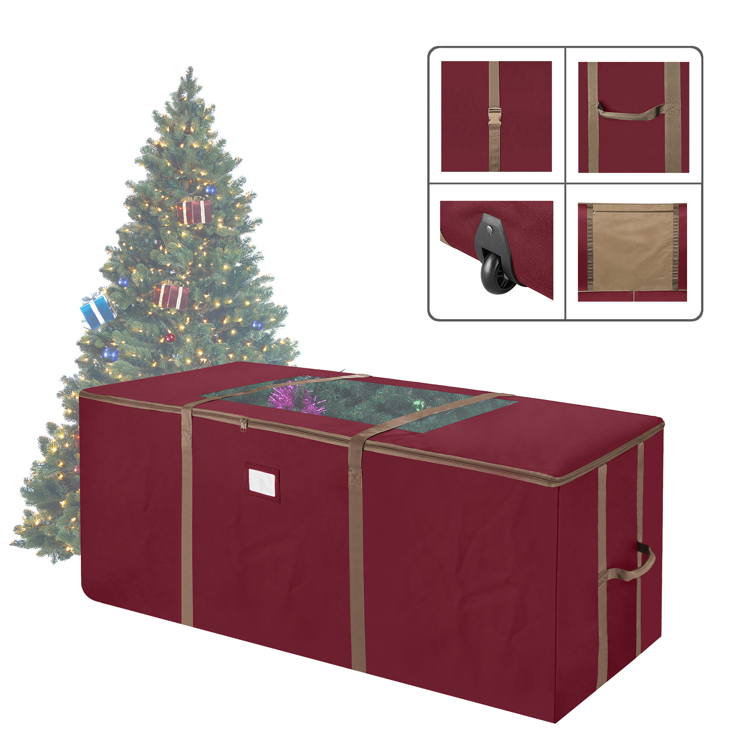 Elf Stor Red Rolling Christmas Tree Storage Duffel Bag w/Window for 9 Ft Tree