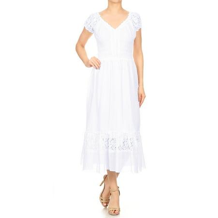 Anna-Kaci Summer Women Renaissance Peasant Maiden Boho Inspired Cap Sleeve Lace Trim Dress