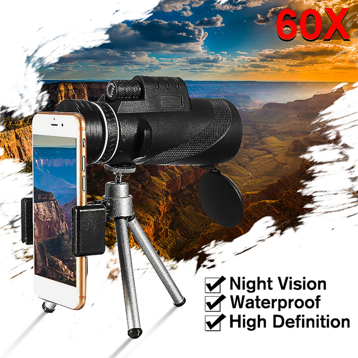 Low Light Night Vision Waterproof 40X60 High Definition Monocular Telescope-BAK4 Prism