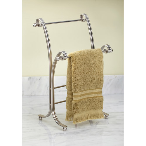 towel holder stand. InterDesign York Lyra Metal Towel Holder Stand For Bathroom Vanities, Satin Walmart