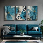 """Wall Art Decor, Romantic Print Poster Photo Oil Painting Picture for Bedroom Kitchen Restaurant Bathroom Office 3Pcs Home Decoration, Blue Flower, 16x24"""" (Frame not Include)"""
