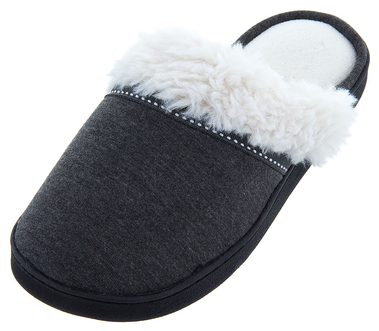 Isotoner Women's Charcoal Jersey Knit Slippers