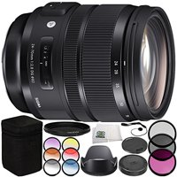 Sigma 24-70mm f/2.8 DG OS HSM Art Lens for Canon EF 10PC Accessory Bundle – Includes 3 Piece Filter Kit (UV + CPL + FLD) + 6PC Graduated Filter Kit + MORE