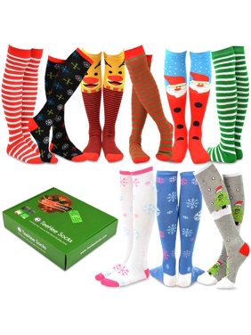 TeeHee Christmas Holiday Fun Knee High Socks 9-Pack with Gift Box
