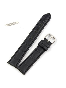 18mm Leather Strap Steel Buckle Wrist Watch Band Black