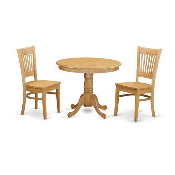 East West Furniture Anva3 Oak W Small Kitchen Dining Table 2 Chair 44 Oak Walmart Com Walmart Com