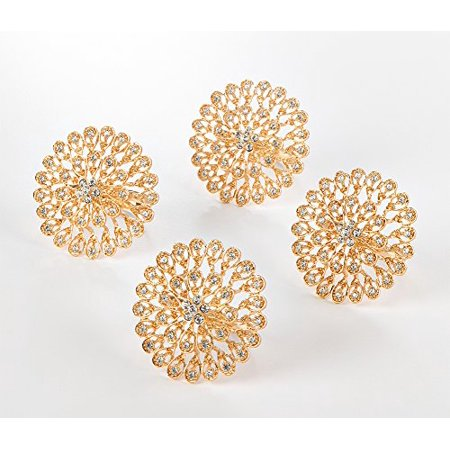 Fennco Styles Starburst Flower Napkin Rings - Amber Color - Set of 4 (Gold)](Gold Napkin Rings)