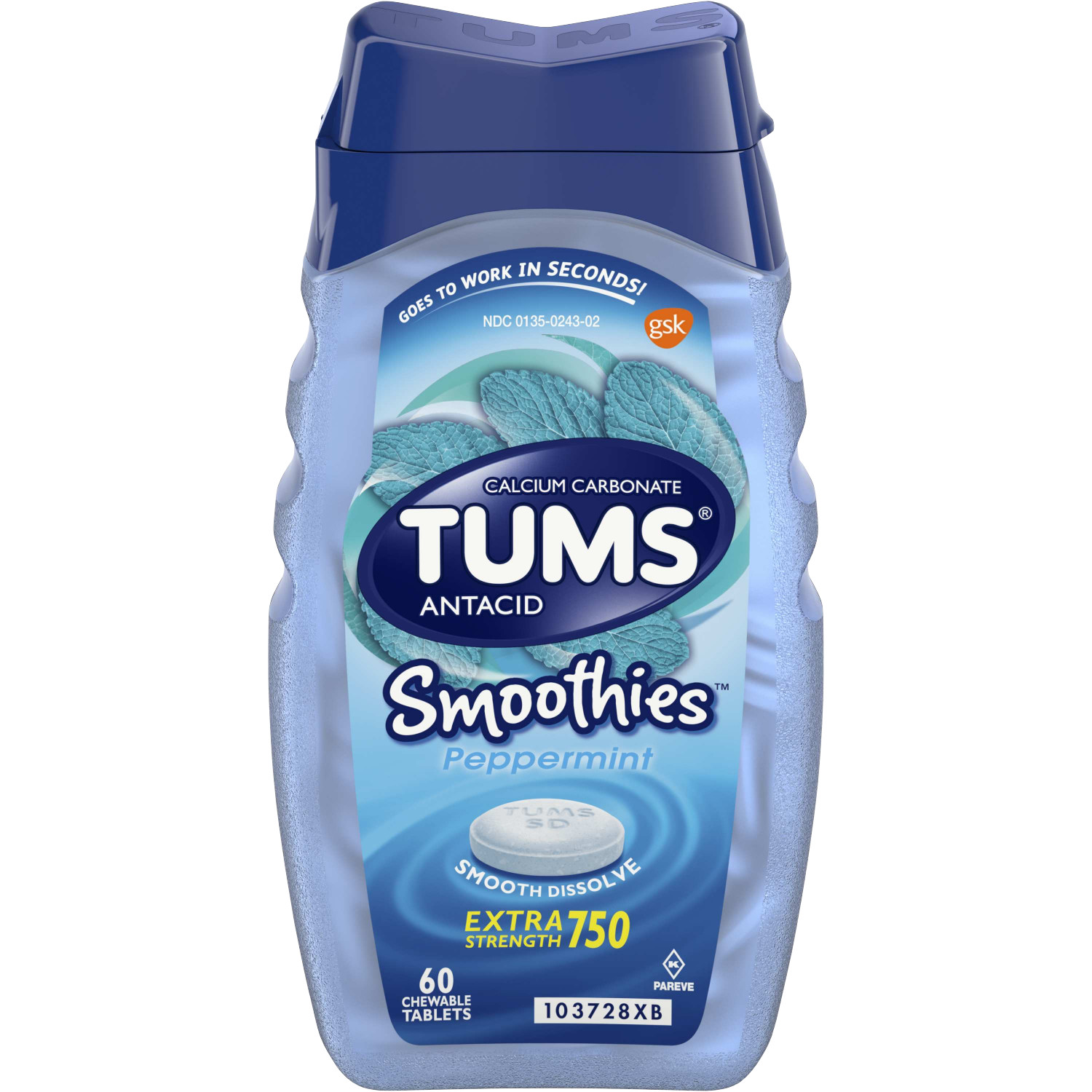 TUMS Smoothies Peppermint Extra Strength Antacid Chewable Tablets for Heartburn, 60 Tablets