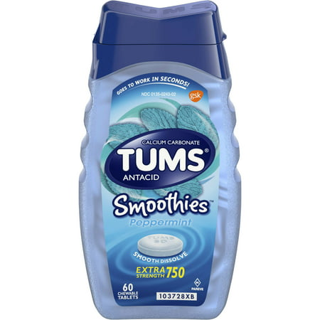 (2 Pack) Tums smoothies peppermint extra strength antacid chewable tablets for heartburn, 60 tablets