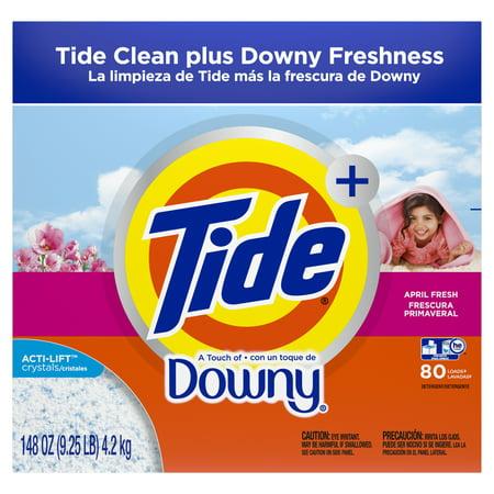 Tide plus Downy April Fresh, 80 Loads Powder Laundry Detergent, 148 Oz Ultra Laundry Powder