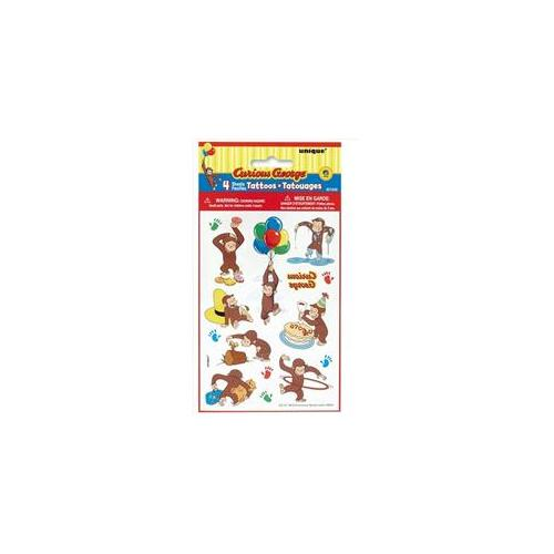Unique Industries 21242 4 Count Curious George Animated Color Tattoo Sheets - 144 Packs