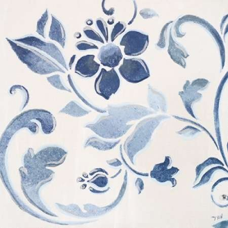 Blue Floral Shimmer II Stretched Canvas - Tiffany Hakimipour (12 x 12)