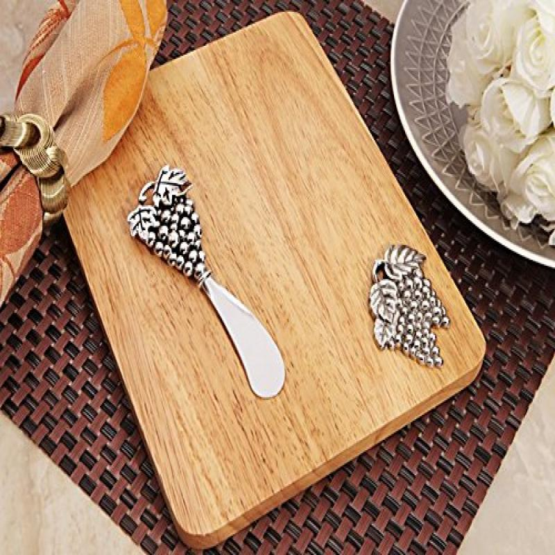 Cassiani Collection Stylish Wood Cheese Cutting Board With Grapes Design