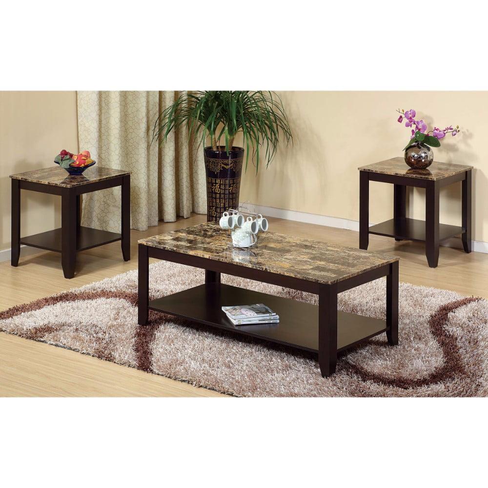 Enchanting Spacious Coffee & End Table, Set of 3, Brown
