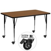 Flash Furniture Mobile 30''W x 72''L Rectangular Activity Table with 1.25'' Thick High Pressure Oak Laminate Top and Standard Height Adjustable Legs