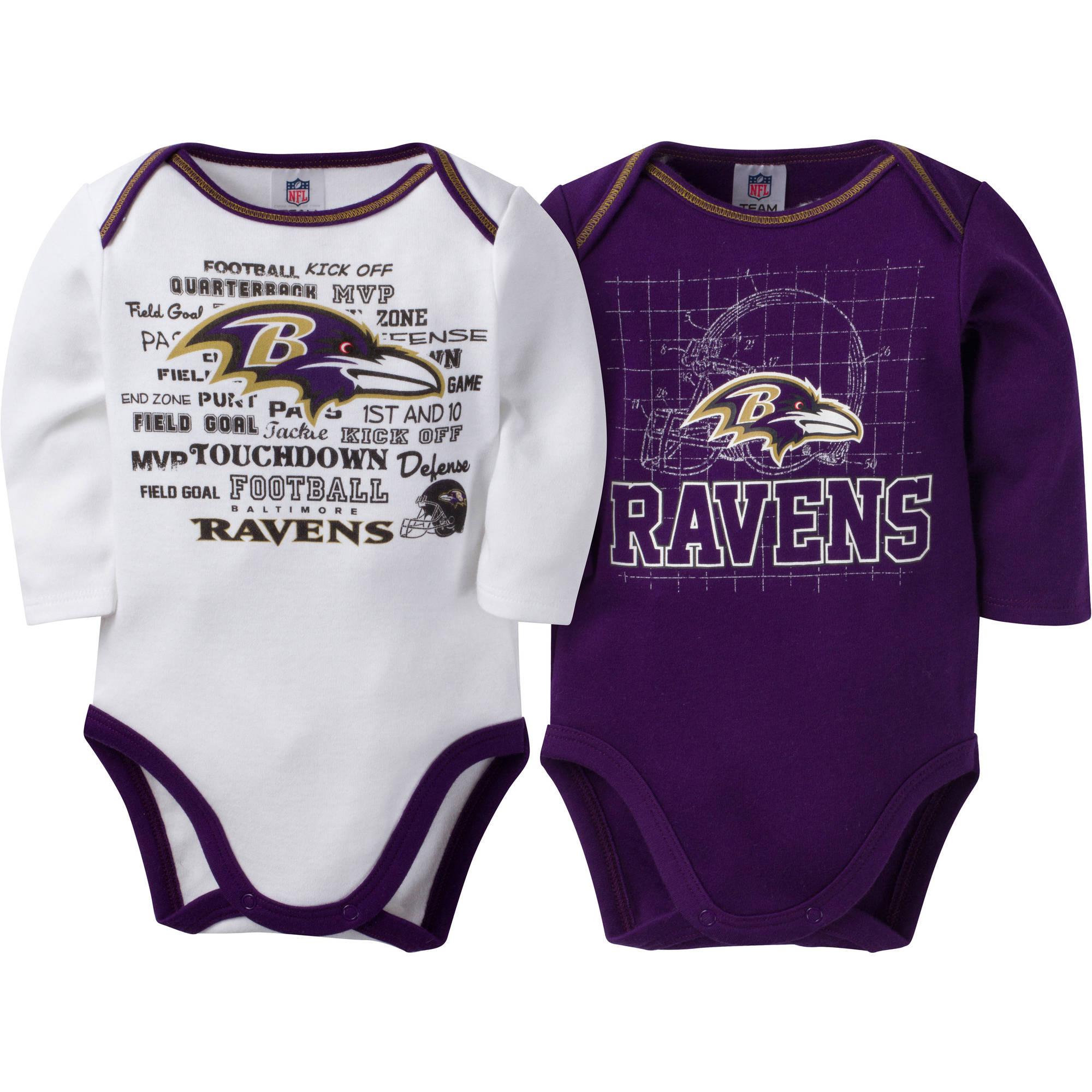 NFL Baltimore Ravens Baby Boys Long Sleeve Bodysuit Set, 2-Pack