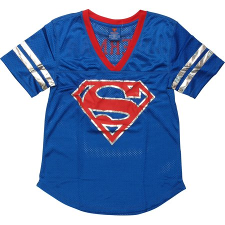Superman Foil Logo Mesh Jersey Ladies - Superman T Shirt For Womens